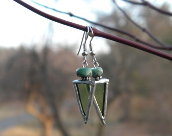 Stained Glass Earrings with Stone Bead
