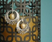 Silver Chandelier and Pale Pink Pearl Earrings