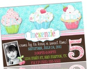 Cupcake Birthday Party Invitation PRINTABLE digital file