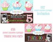 Sweet Shoppe Cupcake Birthday Party Invitation & Thank You Card Set PRINTABLE DIGITAL files