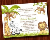 Twin Monkey Boy Baby Shower Invitation PRINTABLE Digital File