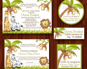 SALE Monkey See Monkey Do Themed Twin Baby Shower Printable Party Package (digital files)