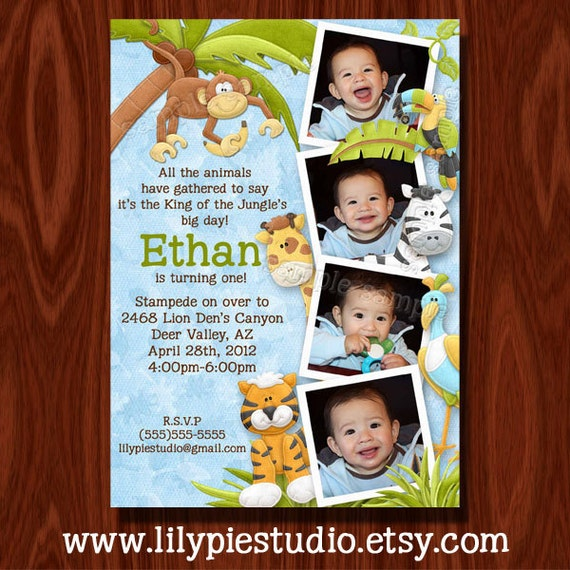 King of the Jungle Photo Birthday Invitation and Thank You Card set PRINTABLE FILE