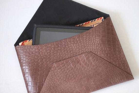 ENVELOPE- Oversize Brown Croc Embossed Leather Clutch (Last Piece)