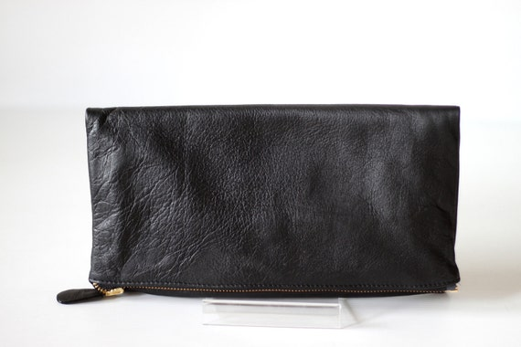 FOLDOVER- Folded Leather Clutch in Black