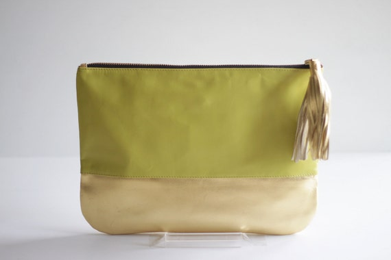COLORBLOCK- Two-toned Leather Clutch in Citrus Green and Gold