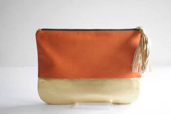 COLORBLOCK- Two-toned Leather Clutch in Orange and Gold