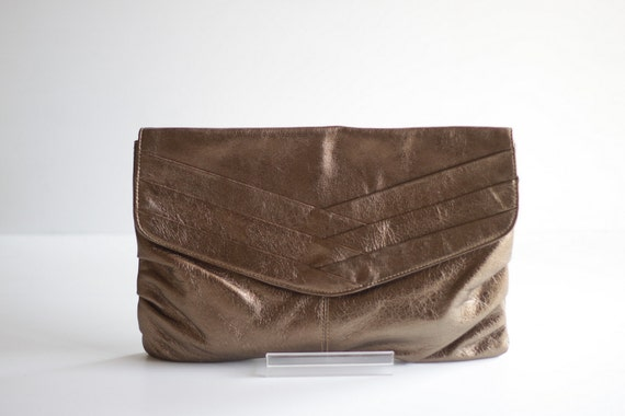 RESERVED for Missy- Classic Pleated Leather Clutch in Bronze