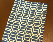 iPad Slip Cover Blue and Cream Geometric Print with Fun Chef Lining