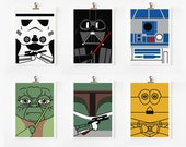 Star wars art print 4 x 5.5 set of 6 (Set A)