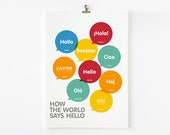 How The World Says Hello, Children travel Art, Playroom Decor, Nursery Art