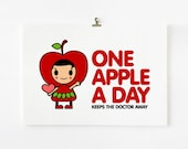 Children Decor, One apple a day keeps the doctor away 8 x 10+ art print