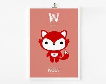 SALE Children decor, Kids wall art Alphabet poster W is for Wolf art print - Animal Nursery Art, Children Room Decor