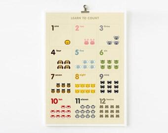 Learn to count animal in French / German / Spanish / Italian / English / Japanese Art Prints, Nursery Art, Children Decor, Classroom Art