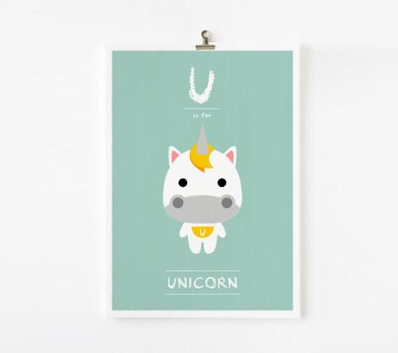 Kids wall art, Alphabet poster U is for Unicorn art print, Nursery Art, Children Room Decor