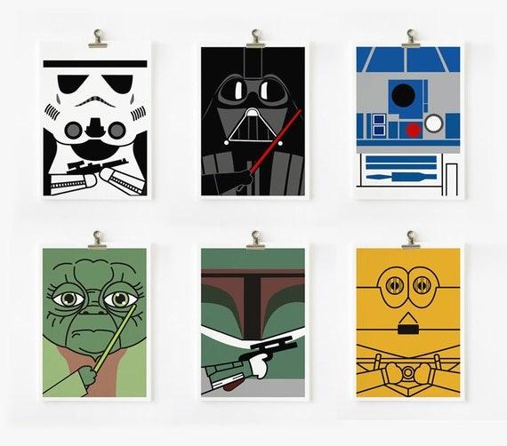 Star wars art print set of 6 (Set A), Nursery Art, Children Room Decor, Star Wars Decor, Star Wars Art