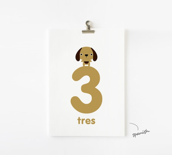 Animal Numbers 5 x 7 Flash Cards 1-20 in English / French / German / Spanish / Italian  / Japanese, Nursery Wall Art, Children Decor