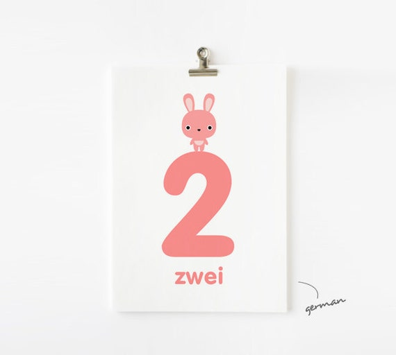 SALE 20% OFF Animal Numbers Flash Cards 1-20 in English / French / German / Spanish / Italian / Japanese, Kids Wall Art, Children's Art, Nur