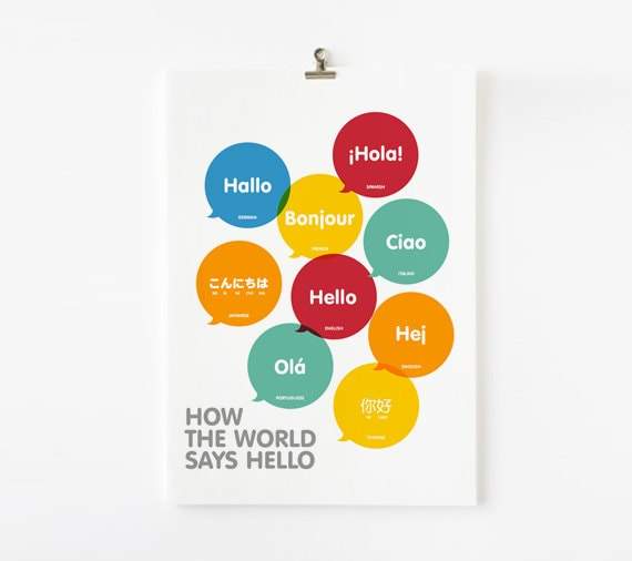 How The World Says Hello 8x10 poster