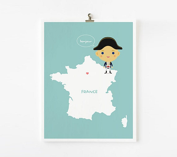 Personalized Children Decor Custom France Map with adorable children in traditional costumes, Nursery Art, Classroom Decor