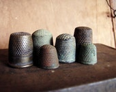 set of antique thimbles - 19th and 18th century - instant collection - secret histories