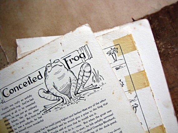 antique paper ephemera - children's book pages - poetry - nursery rhymes