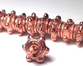 Studded Copper Spacers Tribal Style Bright Copper Pewter (10) Last One