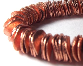 Copper Beads - Wavy Corn Flake Spacers Brushed copper 6mm (80)
