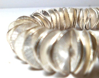 Silver Spacer Beads - Wavy Corn Flake Spacers Brushed Silver12 mm (32)