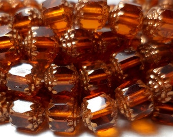 Czech Glass Cathedral Beads Amber and Gold Luster 8mm Fire Polished (25)