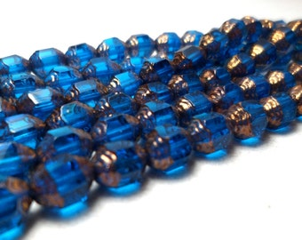 Czech Glass Cathedral Beads Blue and Gold Luster 7mm Fire Polished (10)