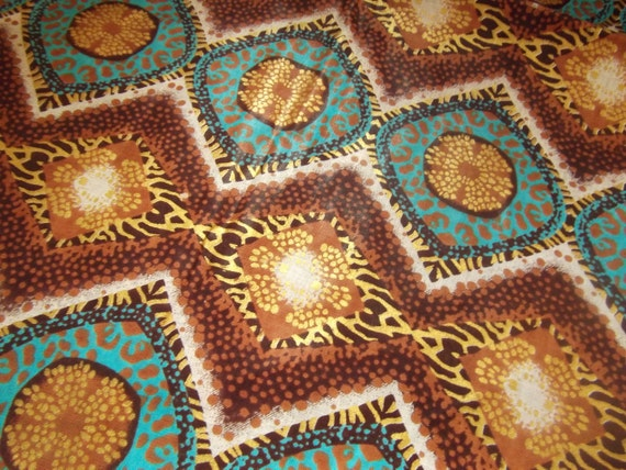 African Fabric Wax Print Woodin Brown, Gold, and Teal  1 yard African Fabric LAST YARD
