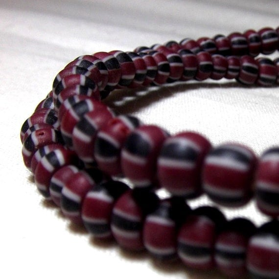 African Beads - Trade Beads, red and black striped seed beads 4mm (50)