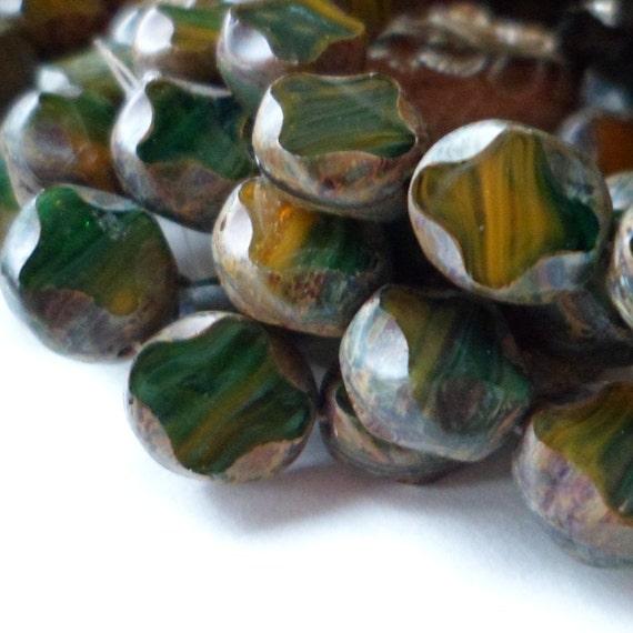 Czech Pressed Glass Beads Green and Ochre windows 10mm 7 pcs