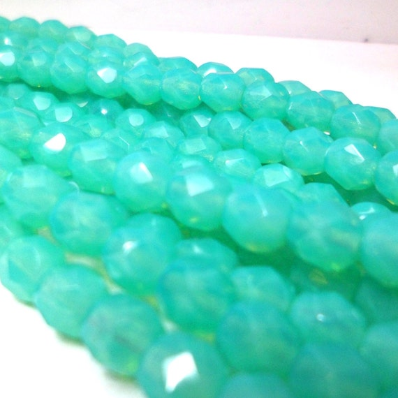 Czech Glass Beads Seafoam Blue Faceted Fire Polished Beads (25) Lime green