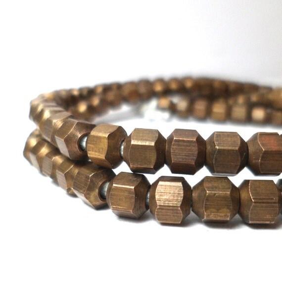 Brass Spacers - Geometric Hexagon Beads 5mm (40)