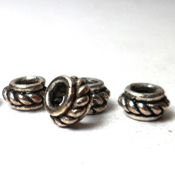 Bali Spacer Beads - Silver spacers with rope twist 6mm (40)