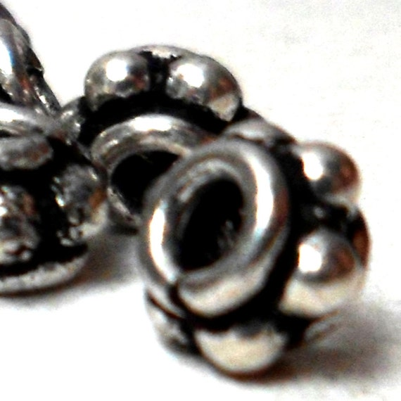 Bali Spacer Beads - Studded Silver Spacers  6mm (20)