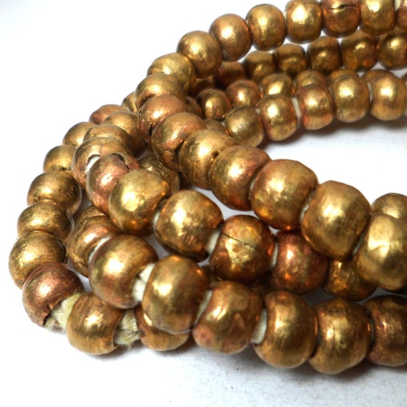 Brass Prayer Beads Rustic Rounds Large Hole 6mm (10) African spacers