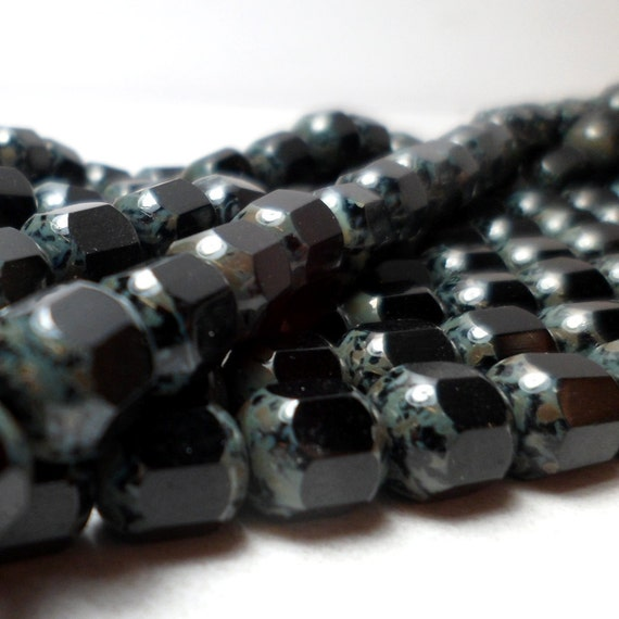 Czech Glass Cathedral Beads Deep Black and Picasso Patina 8mm Fire Polished (10)