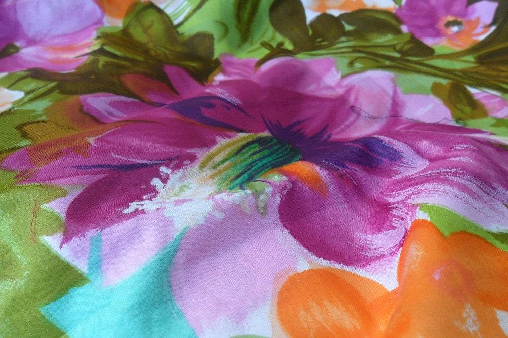 Floral Fabric Large Print Purple Orange Blue White By