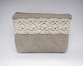 Linen and lace cosmetic bag, zipper pouch, make-up pouch, small clutch