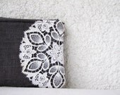 OOAK  Cute little pouch  - Gray Linen and vintage lace doily