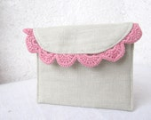 Mini wallet natural linen and crochet pink lace Black Friday Etsy Cyber Monday Etsy