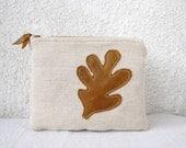 Leather leaf appliquéd Clutch purse cosmetic bag zipper pouch, natural canvas