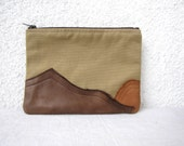 Leather Mountains OOAK appliquéd Clutch purse cosmetic bag  zipper pouch canvas