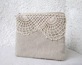 OOAK  Cute little pouch  - natural linen and vintage doily lace