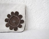 zipper pouch clutch purse cosmetic bag upcycled leather flower