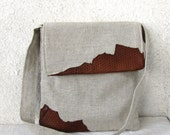 Natural Linen and leather bag messenger cross body men women laptop book bag genuine leather
