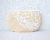 Peach Linen and  vintage doily small clutch, zipper pouch, cosmetic bag